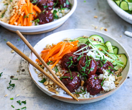 sticky hoisin meatless meatballs